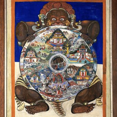 Roue des 6 mondes, tenue par Yama, le dieu de la mort